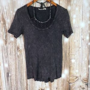 Gimmicks BKE Tee Knit Lace Neck Tie Distressed S